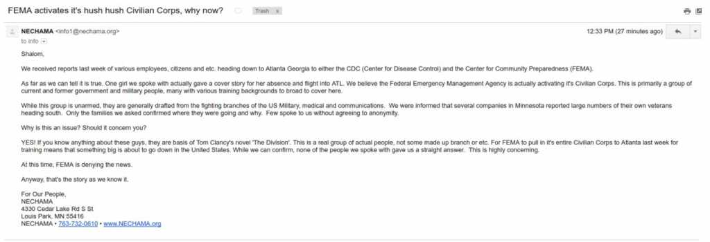 letter fema civillian corps