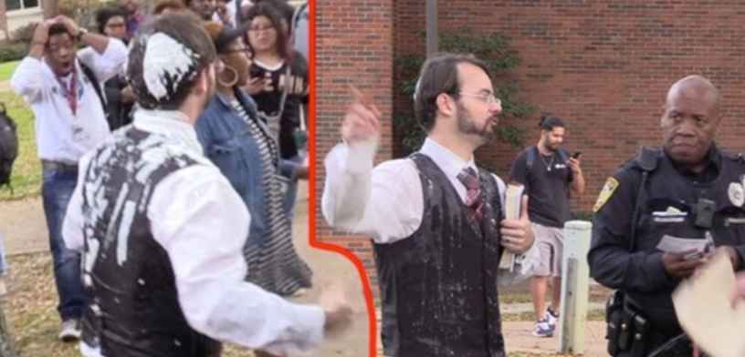 [VIDEO] Starbucks Worker Dumps Milkshake On Open Air Preachers Head